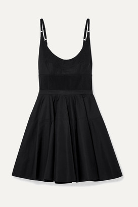 Alexander Wang Rib Knit-trimmed Cotton-poplin Mini Dress - Black