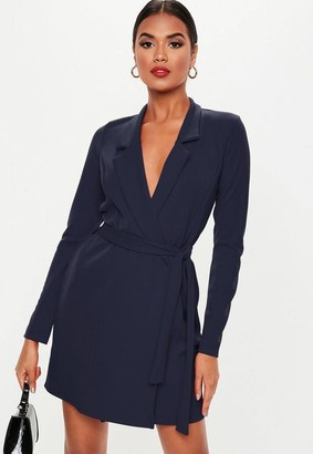Missguided Navy Basic Jersey Belted Blazer Dress