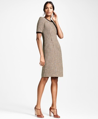 Brooks Brothers Petite Checked Tweed A-Line Dress
