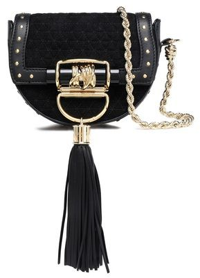 Balmain Tasseled Leather-trimmed Quilted Suede Shoulder Bag