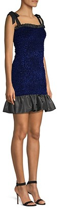 Petersyn Olsen Smocked Ruffle Hem Mini Dress