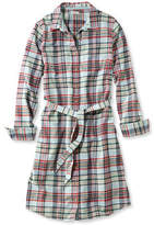L.L. Bean Button-Front Plaid Shirtdress