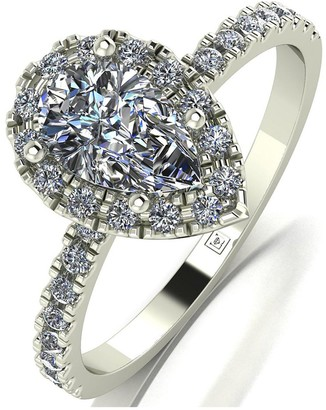 Moissanite 9Ct White Gold 1.40Ct Equivalent Total Cushion Pear Centre Halo Ring