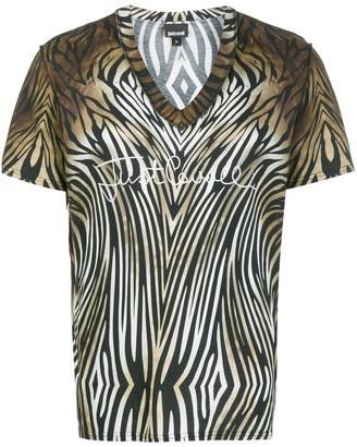 Just Cavalli v-neck leopard print T-shirt