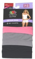 Fruit of the Loom WOMENS LADIES ULTRA COMFORT SEAMLESS BOY SHORTS 3-PK MANY SIZES/COLORS (7-Large, )
