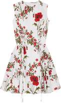 Alexander McQueen Lace-up Floral-print Cotton-poplin Mini Dress