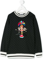 Dolce & Gabbana embroidered sweatshirt - kids - Cotton/Polyester/Virgin Wool/Nylon - 2 yrs