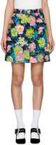 MSGM Multicolor Denim Floral Miniskirt