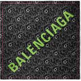 Balenciaga Printed Modal And Silk-blend Voile Scarf - Black