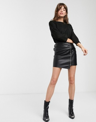 ASOS DESIGN leather look mini skirt with zip and buckles