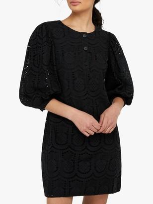 Monsoon Pippa Pineapple Lace Mini Dress, Black