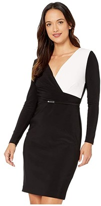 Lauren Ralph Lauren Petite Two-Tone Jersey Dress (Black/Lauren White) Women's Dress