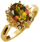 Gem Stone King 2.32 Ct Oval Mango Mystic Topaz and Topaz Yellow Gold Plated Silver Ring