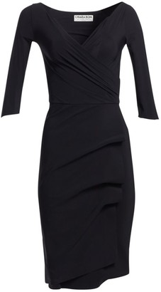 Chiara Boni Three Quarter-Sleeve Pleated Sheath Dress