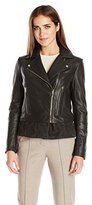 Via Spiga Women's Real Leather Moto Jacket