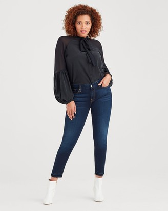 7 For All Mankind B(air) Denim Ankle Skinny With Contour Waistband & Released Hem in Tranquil Blue
