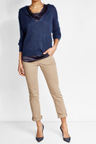 Brunello Cucinelli Knit Hoody with Satin Top