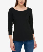 Tommy Hilfiger Three-Quarter-Sleeve Boat-Neck Top, Only at Macy's