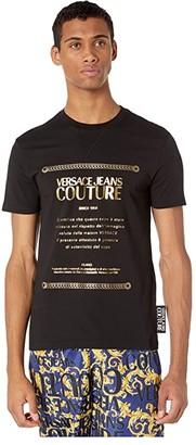 Versace Warranty Logo Metallic Foil T-Shirt (Black/Gold) Men's Clothing