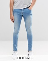 Brooklyn Supply Co. Brooklyn Supply Co Light Washed Distressed Denim Dyker Jeans With Raw Hem In Super Skinny Fit