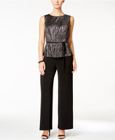 Connected Metallic Crinkled Belted Jumpsuit
