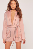 Missguided Silky Plunge Binded Playsuit Pink