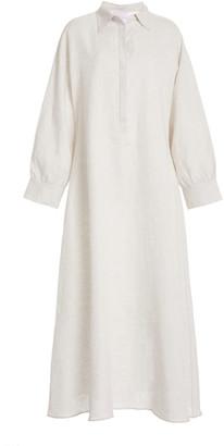 ASCENO The Porto Linen Maxi Shirt Dress