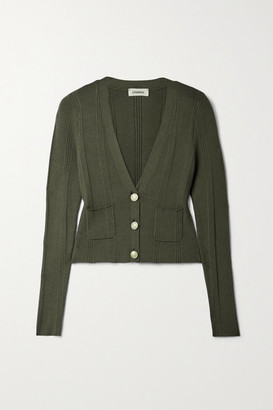 L'Agence Jamie Ribbed-knit Cardigan - Army green
