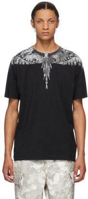 Marcelo Burlon County of Milan Black and Grey Camou Wings T-Shirt