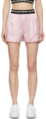 alexanderwang.t Pink Silk Logo Elastic Shorts