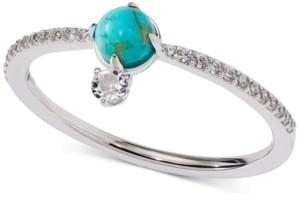 AVA NADRI Silver-Tone Stone & Crystal Statement Ring