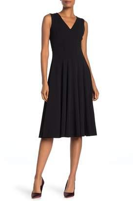 Calvin Klein V-Neck Fit and Flare Midi Dress
