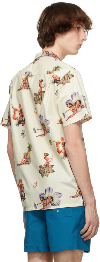 Thumbnail for your product : Bather Beige Graphic Short Sleeve Shirt