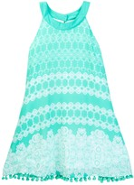 My Michelle mymichelle Printed Halter Dress with Pom Pom Trim (Big Girls)