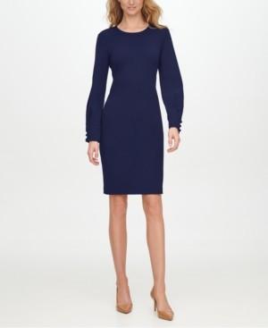 Calvin Klein Slit-Sleeve Sheath Dress