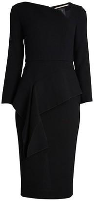 Roland Mouret Abbaye Asymmetric Ruffle Peplum Wool Sheath Dress