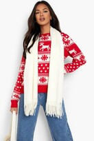 boohoo Hollie Reindeers And Snowflake Christmas Jumper red