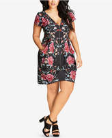 City Chic Trendy Plus Size Floral-Print Tunic Dress