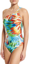 Lenny Niemeyer One-Shoulder Feather-Print Maillot One-Piece Swimsuit, Imperial