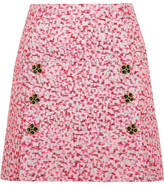 Dolce & Gabbana Embellished Metallic Jacquard Mini Skirt - Pink