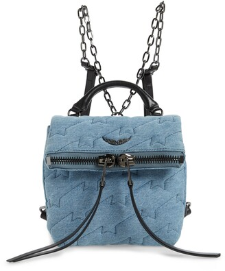 Zadig & Voltaire Romy Compact Quilted Denim Backpack