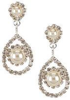 Cezanne Framed Daisy Pearl and Rhinestone Teardrop Earrings