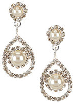 Cezanne Framed Daisy Pearl & Rhinestone Teardrop Statement Earrings