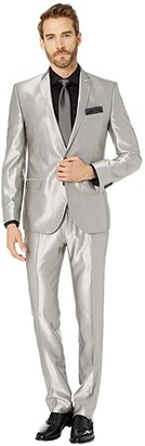 Nick Graham Silver 32 Finished Bottoms Hem Suit (Silver) Men's Suits Sets