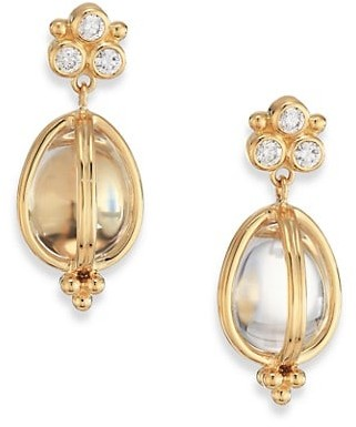 Temple St. Clair Classic Rock Crystal, Diamond & 18K Yellow Gold Teardrop Amulet Earrings