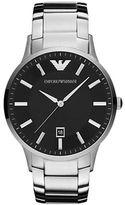 Emporio Armani Mens Silver Round Black Dial Watch