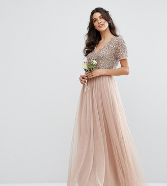Maya Bridesmaid V Neck Maxi Tulle Dress with Tonal Delicate Sequins-Pink