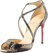 Cross-Strap Python Sandal