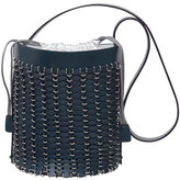Paco Rabanne Grommet-Studded Leather Bucket Bag, Navy