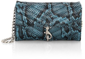 Rebecca Minkoff Edie Quilted Snakeskin-Embossed Leather Wallet-On-Chain
